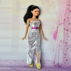 Silver Barbie Gown-Modest Barbie Clothes-Barbie Shoes