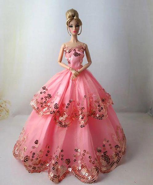 Barbie Gown, Modest Barbie Clothes, Pocketbook, Pink Barbie Shoes, Necklace-Bracelet