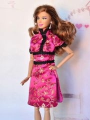 Satin Barbie Dress-Modest Barbie Clothes-Barbie Shoes