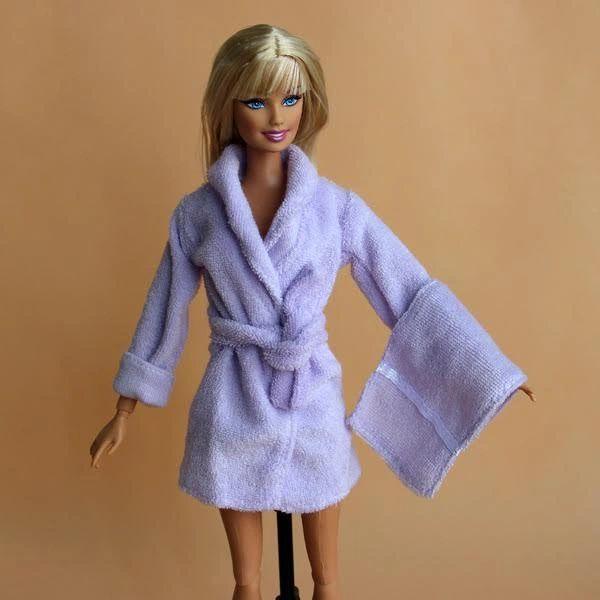 Lilac Barbie Bathrobe-Belt-Towel-Barbie Slippers