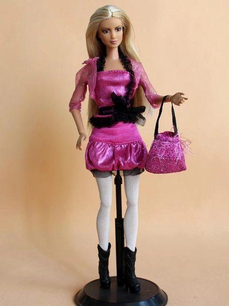 Barbie Casual Wear Skirt Belt Shirt Jacket Tights Purse Boots