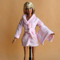 Barbie Bathrobe Set-Modest Barbie Clothes-Belt-Towel-Slippers