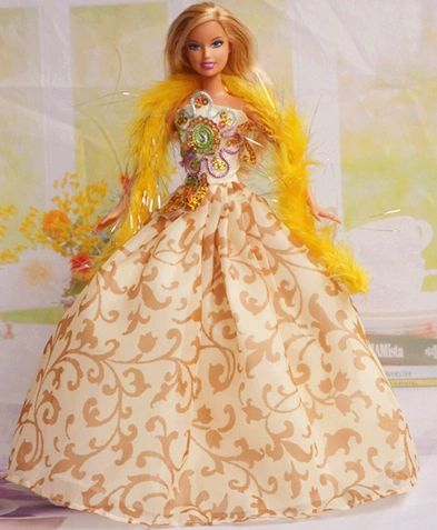 Barbie Dress-Feather Shawl-Barbie Shoes