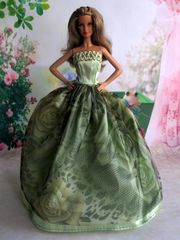 Green Satin Barbie Dress-Barbie Shoes
