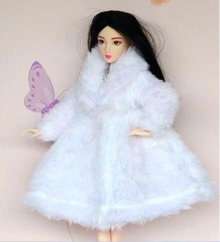 White Barbie Fur Coat Modest Barbie Clothes