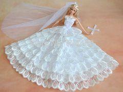 Barbie Wedding Dress-Flowers-Veil-Gloves-Shoes-Purse-Jewelry