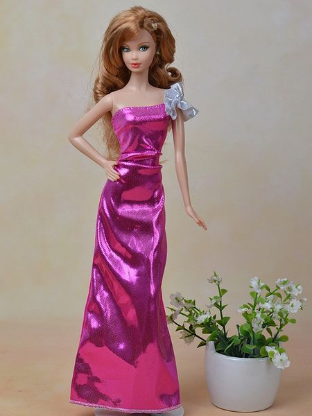 Satin Evening Barbie Gown-Fancy Shoes