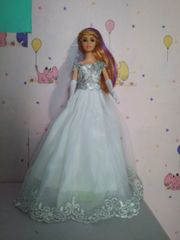 Barbie Wedding Gown-Veil-Gloves-Shoes