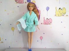 Barbie Bathrobe-Modest Barbie Clothes-Belt-Towel-Blue Barbie Slippers