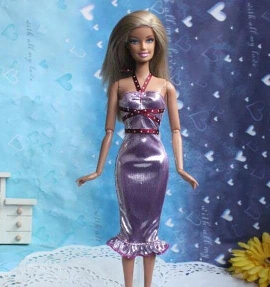 Fancy Barbie Dress-Modest Barbie Clothes-Lilac Shoes