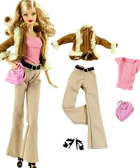 Barbie Casual Wear-Barbie Fur Coat-Shirt-Scarf-Pants-Belt-Purse-Shoes