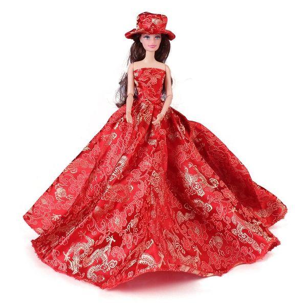 Elegant Barbie Gown-Hat-Shoes