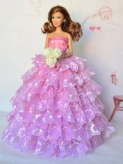 Lilac-Pink Barbie Gown-Shoes-Flowers