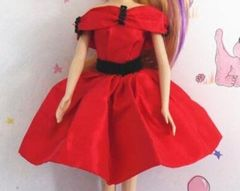 Red Satin Barbie Dress-Red Barbie Shoes