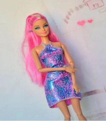 Shiny Pink And Blue-Modest Barbie Dress-Shoes