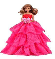 Lace Barbie Gown-Flowers-Shoes