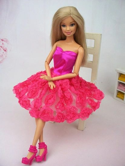Pink Roses Barbie Dress-Shoes