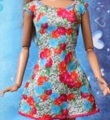 Floral Barbie Dress-Modest Barbie Clothes-Shoes