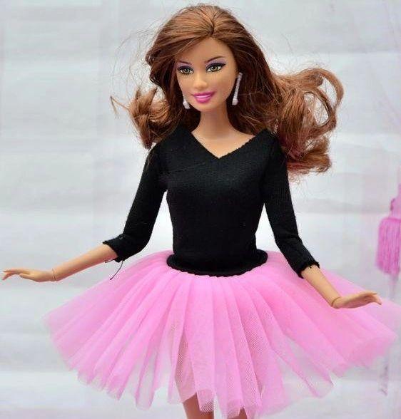 Pink Barbie Ballet Tutu-Ballet Slippers-Pearl Earrings