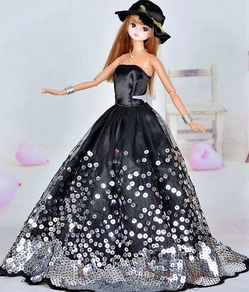 Black Satin Barbie Gown-Shoes-Hat