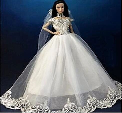 Barbie Wedding Gown Veil Gloves Shoes