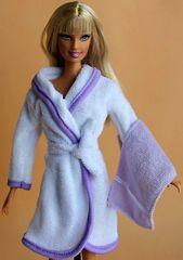 Barbie Bathrobe Set-Modest Barbie Clothes-Belt-Towel-Lilac Slippers