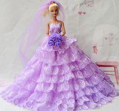 Barbie Wedding Dress-Veil-Flowers-Shoes