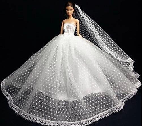 Barbie Wedding Dress Veil Gloves Shoes