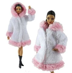 Barbie Fur Coat-With Hood-Modest Barbie Clothes,