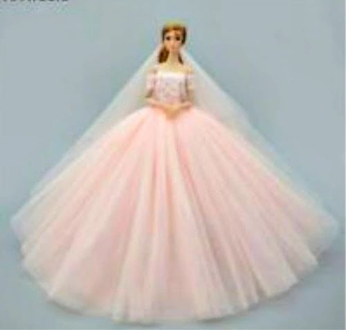 Pink Barbie Wedding Gown With Long Veil Tulle And Lace