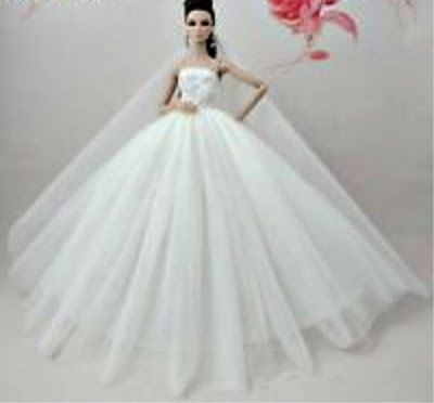 White Barbie Wedding Gown With Long Veil Tulle And Lace