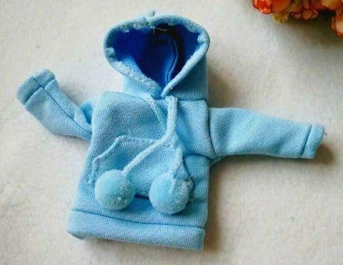Barbie Blue Sweat Jacket With A Hood & Pockets & Pom Poms