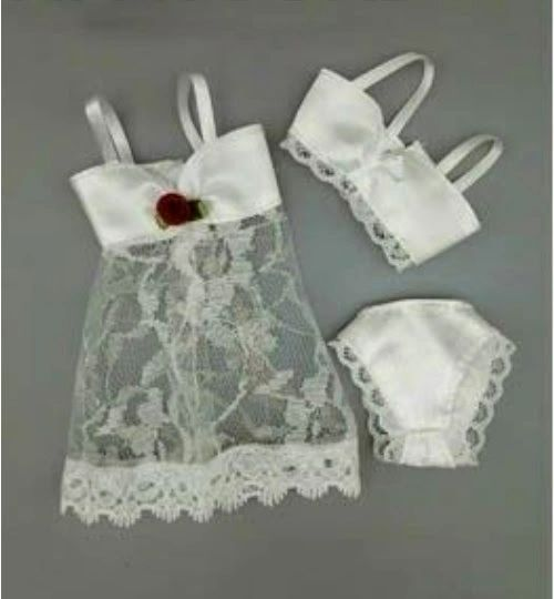For Barbie Lingerie Set 3 Pieces Jacket Bra And Panties Satin And Lace 1