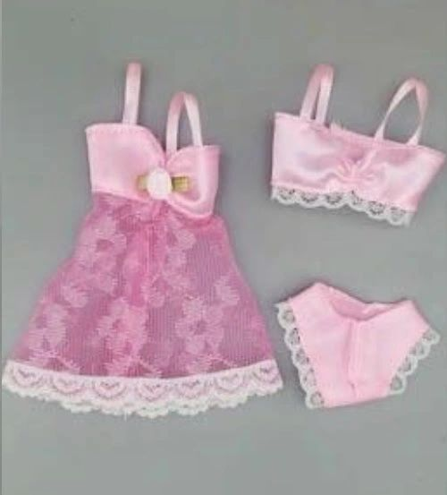 For Barbie Lingerie Set 3 Pieces Jacket Bra And Panties Satin And Lace 4