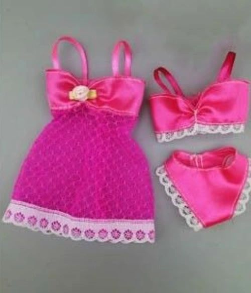 For Barbie Lingerie Set 3 Pieces Jacket Bra And Panties Satin And Lace 6