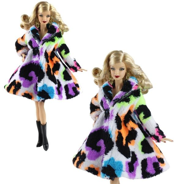 Multi Colored Barbie Fur Coat Modest Barbie Clothes