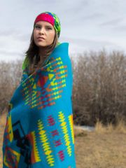 Boy Chief Queen Wool Blanket Turquoise