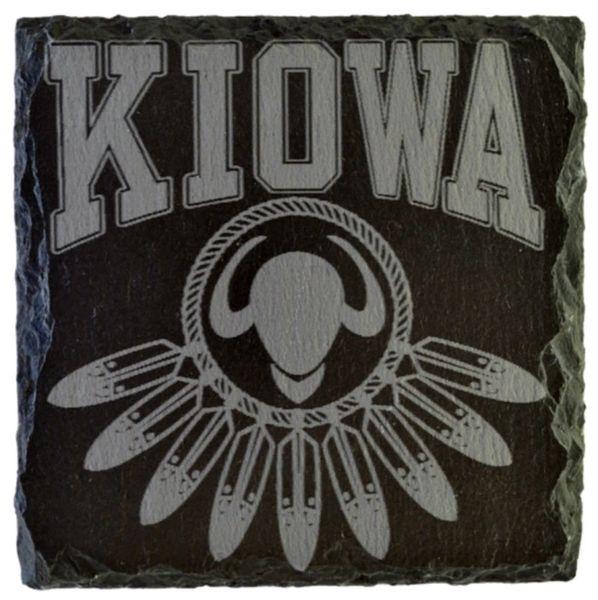 Kiowa w/buffalo head logo Slate Coaster (Engraved)