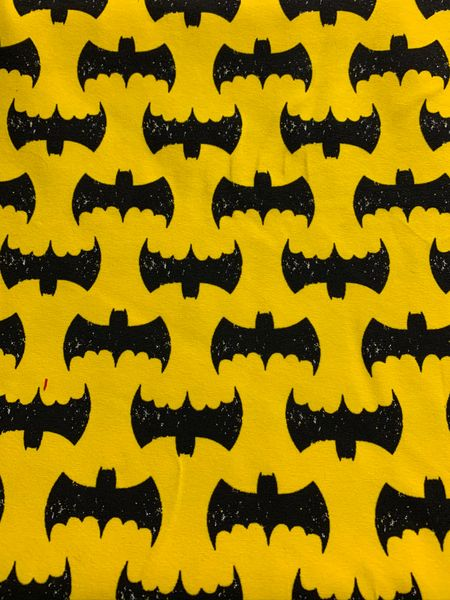 destressed Batman - cotton (yellow or pink)