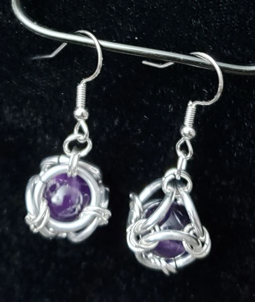 Caged Amethyst Earrings