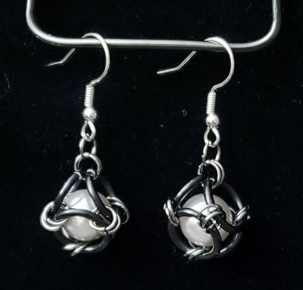 Caged Gray Pearl Earrings