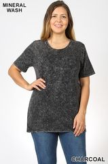 Charcoal Mineral Washed Short Sleeve Top (PS14)