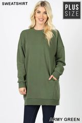 Army Green/Denim Blue/M Grey Plus Size Sweatshirt Tunic (PS9)