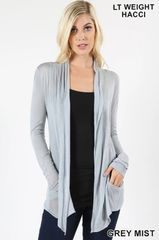 Grey Mist Light Weight Hacci Waterfall Cardigan (T158)