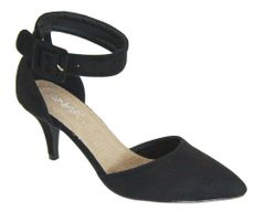 Black Bold Ankle Strap Suede Heels (SDB493)