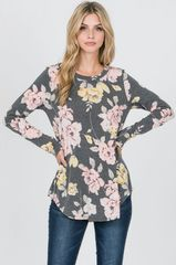 Charcoal Floral Top (T167)