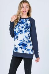 Navy Floral Top (T168)