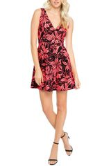 Neon Pink/Black Floral Sleeveless Fit and Flare Dress (D21)