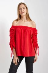 Red Off Shoulder Top w/Ruched Sleeve (T197)