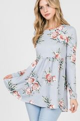Periwinkle Floral Baby-doll Top (T187)